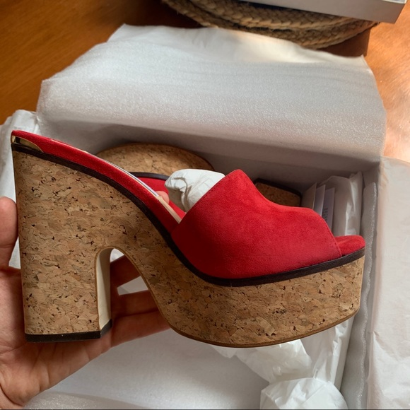 Jimmy Choo Red Deedee Wedge Heel